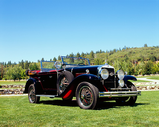 AUT 18 RK0288 01 © Kimball Stock 1929 La Salle Dual Phaeton Roadster Black 3/4 Side View On Grass