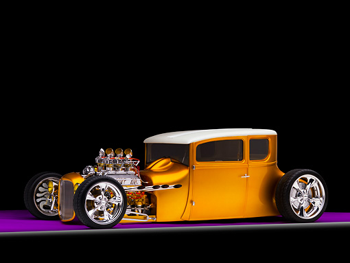 AUT 18 RK0298 01 © Kimball Stock 1927 Ford Coupe Hot Rod Orange 3/4 Front View Studio