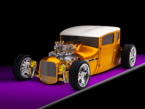 AUT 18 RK0300 01 © Kimball Stock 1927 Ford Coupe Hot Rod Orange 3/4 Front View Studio