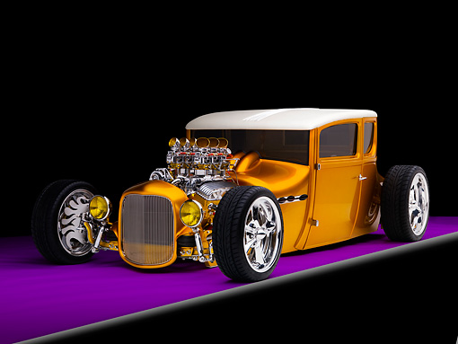 AUT 18 RK0304 01 © Kimball Stock 1927 Ford Coupe Hot Rod Orange 3/4 Front View Studio