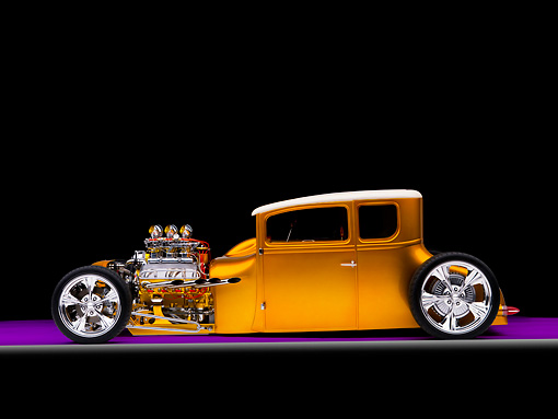 AUT 18 RK0305 01 © Kimball Stock 1927 Ford Coupe Hot Rod Orange 3/4 Front View Studio
