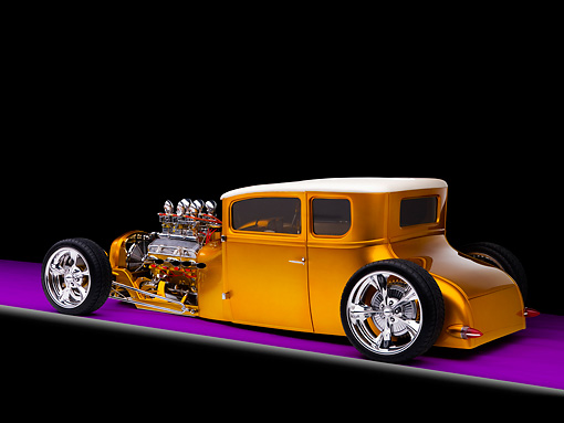 AUT 18 RK0306 01 © Kimball Stock 1927 Ford Coupe Hot Rod Orange 3/4 Rear View Studio