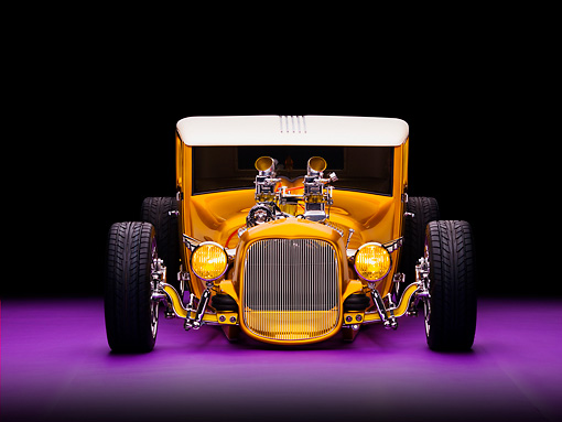 AUT 18 RK0308 01 © Kimball Stock 1927 Ford Coupe Hot Rod Orange Head On View Studio