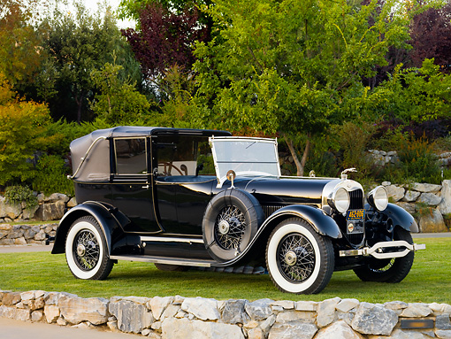 AUT 18 RK0314 01 © Kimball Stock 1928 Lincoln L-Series Collapsible Cabriolet Black 3/4 Front View On Grass By Trees