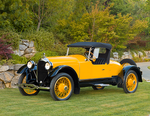 AUT 18 RK0318 01 © Kimball Stock 1921 Paige Daytona Speedster Yellow 3/4 Front View On Grass By Trees