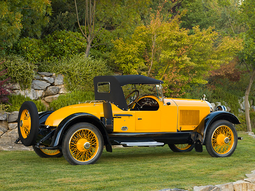 AUT 18 RK0320 01 © Kimball Stock 1921 Paige Daytona Speedster Yellow 3/4 Rear View On Grass By Trees