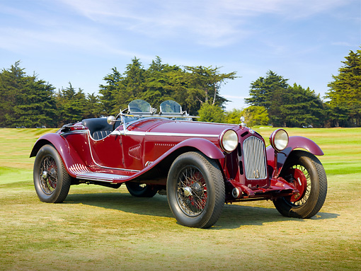 AUT 19 BK0001 01 © Kimball Stock 1931 Alfa Romeo 6C 1750 Gran Sport Maroon 3/4 Front View On Grass By Trees