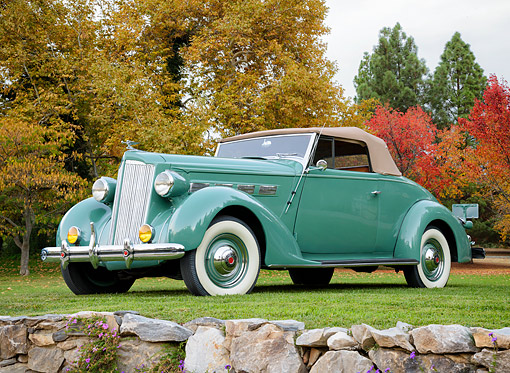 AUT 19 BK0020 01 © Kimball Stock 1937 Packard 120 Green 3/4 Front View By Autumn Trees