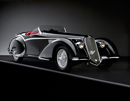 AUT 19 RK0008 10 © Kimball Stock 1937 Alfa Romeo 8C 2900B Spider Black 3/4 Front View On Gray Line Studio