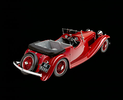 AUT 19 RK0013 13 © Kimball Stock 1933 SS Sport Tourer Roadster Red 3/4 Rear View Studio