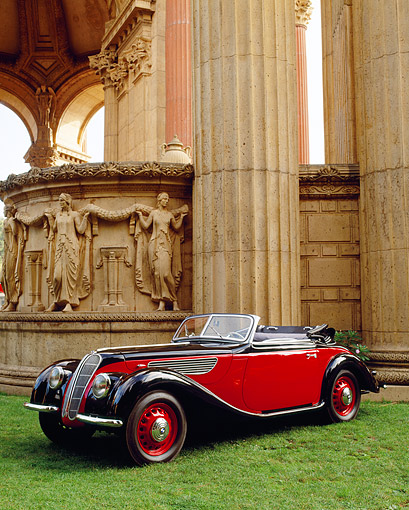 AUT 19 RK0021 03 © Kimball Stock 1937 BMW Cabriolet Red And Black 3/4 Front View Palace Of Fine Arts San Francisco
