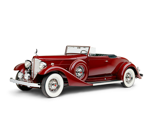 AUT 19 RK0110 04 © Kimball Stock 1933 Packard Super Eight Convertible Coupe Burgundy Side 3/4 View On White Seamless Studio