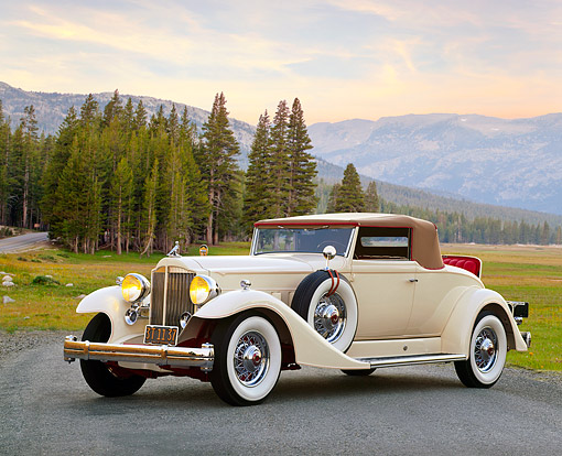 AUT 19 RK0255 07 © Kimball Stock 1933 White Packard V-12 Coupe 3/4 Front View On Pavement By Mountains