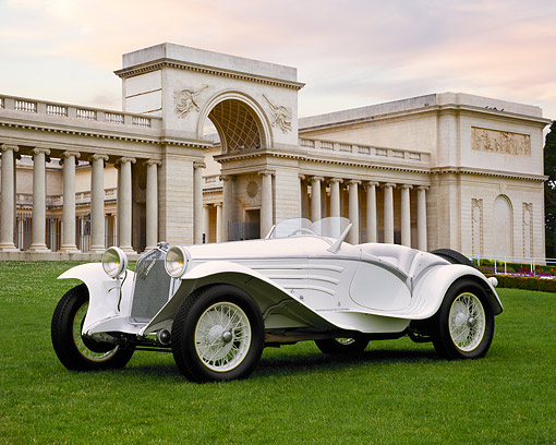 AUT 19 RK0346 01 © Kimball Stock 1931 Alfa Romeo 6C 1750 GS Flying Star White 3/4 Side View On Grass By Building With Columns
