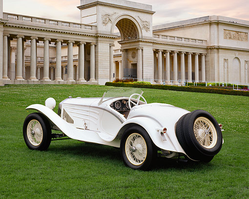 AUT 19 RK0347 06 © Kimball Stock 1931 Alfa Romeo 6C 1750 GS Flying Star Roadster White 3/4 Rear View On Grass By Building With Columns