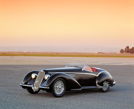 AUT 19 RK0493 02 © Kimball Stock 1937 Alfa Romeo 8C 2900B Spider Black 3/4 Front View On Pavement Filtered
