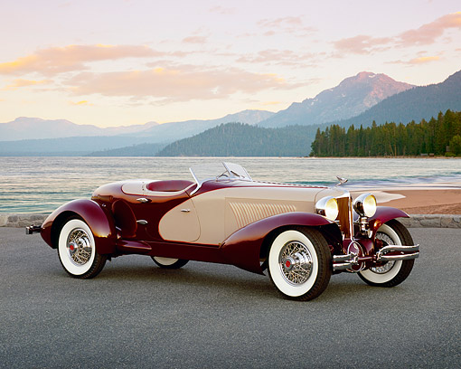 AUT 19 RK0539 01 © Kimball Stock 1931 Cord L29 Speedster Burgundy And Beige 3/4 Side View On Pavement Filtered