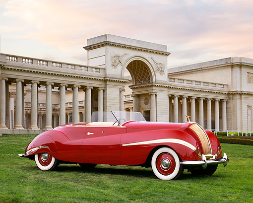 AUT 19 RK0581 05 © Kimball Stock 1939 Rolls Royce Phantom III Labourdette Drophead Red 3/4 Side View On Grass By Building With Columns