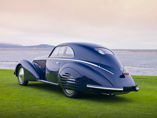 AUT 19 RK0738 01 © Kimball Stock 1938 Alfa Romeo 8C 2900B Touring Blue 3/4 Rear View On Grass By Ocean Best Of Show Pebble Beach