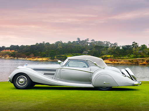 AUT 19 RK0764 01 © Kimball Stock 1937 Horch 853 Voll & Ruhrbeck Sport Cabriolet Silver Profile View On Grass By Ocean