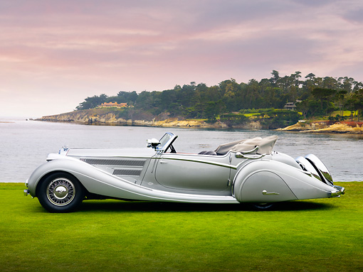 AUT 19 RK0765 01 © Kimball Stock 1937 Horch 853 Voll & Ruhrbeck Sport Cabriolet Silver Profile View On Grass By Ocean