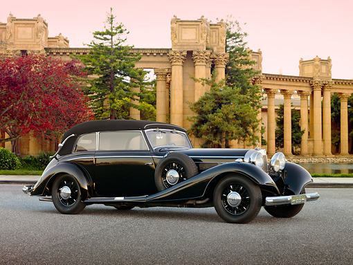 AUT 19 RK0796 01 © Kimball Stock 1937 Mercedes-Benz 540K Cabriolet Black 3/4 Side View On Pavement