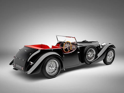AUT 19 RK0806 01 © Kimball Stock 1938 Bugatti Type 57SC Corsica Convertible Black 3/4 Rear View On White Seamless
