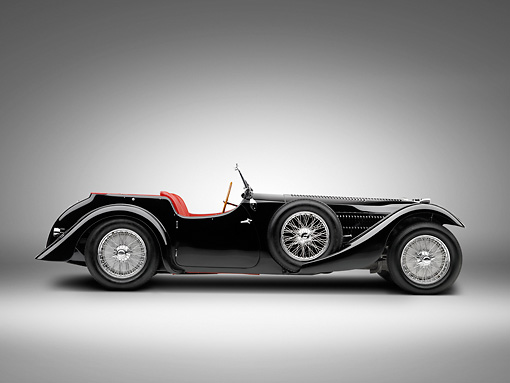 AUT 19 RK0811 01 © Kimball Stock 1938 Bugatti Type 57SC Corsica Convertible Black Profile View On White Seamless