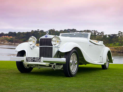 AUT 19 RK0814 01 © Kimball Stock 1933 Delage D8S De Villars Roadster White 3/4 Front View On Grass By Water