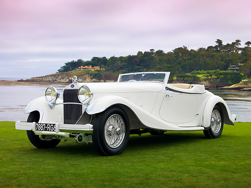 AUT 19 RK0815 01 © Kimball Stock 1933 Delage D8S De Villars Roadster White 3/4 Front View On Grass By Water