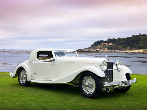 AUT 19 RK0816 01 © Kimball Stock 1933 Delage D8S De Villars Roadster White 3/4 Front View On Grass By Water
