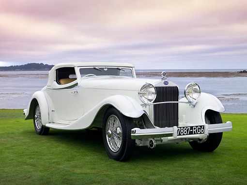 AUT 19 RK0817 01 © Kimball Stock 1933 Delage D8S De Villars Roadster White 3/4 Front View On Grass By Water