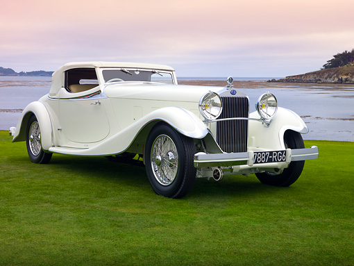 AUT 19 RK0818 01 © Kimball Stock 1933 Delage D8S De Villars Roadster White 3/4 Front View On Grass By Water