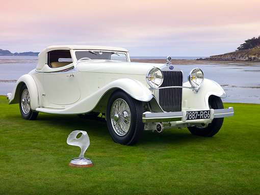 AUT 19 RK0819 01 © Kimball Stock 1933 Delage D8S De Villars Roadster White 3/4 Front View On Grass By Water