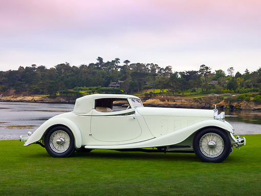 AUT 19 RK0821 01 © Kimball Stock 1933 Delage D8S De Villars Roadster White Profile View On Grass By Water