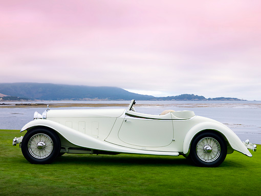 AUT 19 RK0822 01 © Kimball Stock 1933 Delage D8S De Villars Roadster White Profile View On Grass By Water