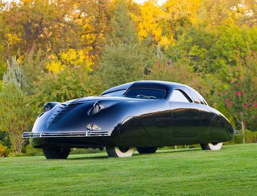 AUT 19 RK0854 01 © Kimball Stock 1938 Phantom Corsair Black 3/4 Front View On Grass By Trees