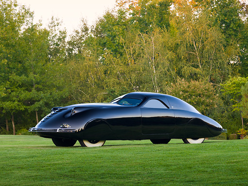 AUT 19 RK0865 01 © Kimball Stock 1938 Phantom Corsair Black 3/4 Side View On Grass By Trees
