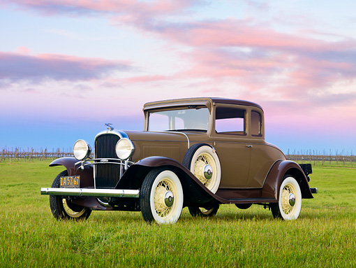 AUT 19 RK0936 01 © Kimball Stock 1931 Oldsmobile Deluxe Business Coupe Brown 3/4 Front View On Grass By Vineyard