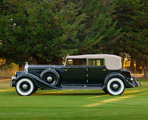 AUT 19 RK0968 01 © Kimball Stock 1933 Pierce Arrow Black Profile View On Grass By Trees