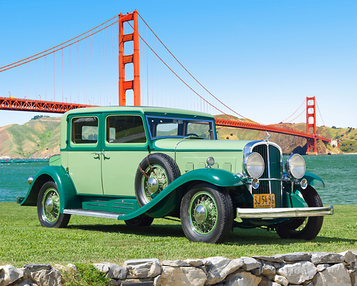 AUT 19 RK1008 01 © Kimball Stock 1932 Franklin Club Sedan 3 Tone Green 3/4 Front View On Grass By Golden Gate Bridge