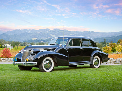 AUT 19 RK1021 01 © Kimball Stock 1939 Cadillac Fleetwood 60 Special Black 3/4 Front View On Grass In Countryside