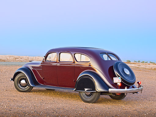 AUT 19 RK1026 01 © Kimball Stock 1935 Chrysler C2 Airflow Imperial Maroon And Black 3/4 Rear View On Gravel