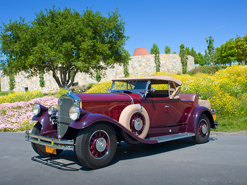 AUT 19 RK1030 01 © Kimball Stock 1930 Pierce-Arrow Model B Two-Tone Maroon 3/4 Front View On Pavement By Wildflowers