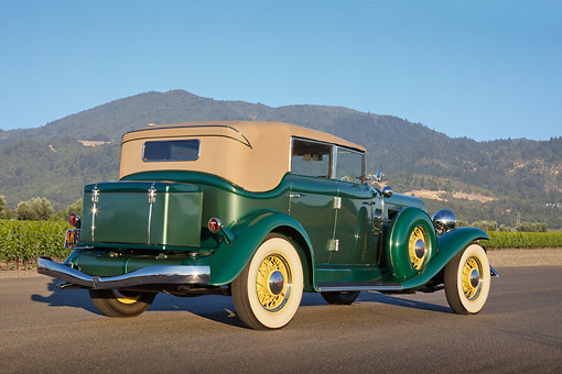 AUT 19 RK1041 01 © Kimball Stock 1933 Auburn Salon 8-105 Mountain Green 3/4 Rear View On Pavement By Vineyard