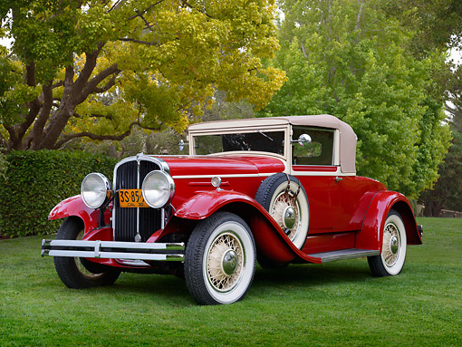 AUT 19 RK1046 01 © Kimball Stock 1930 Franklin 145 Convertible Red 3/4 Front View On Grass By Trees