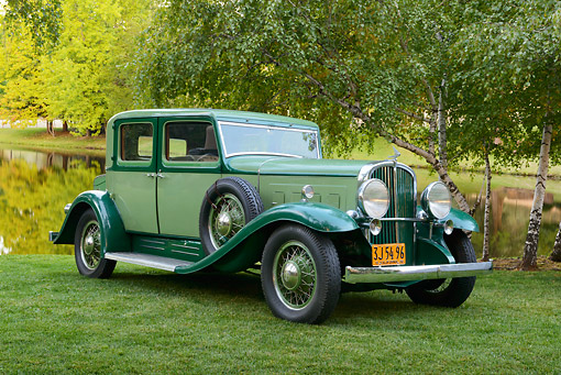 AUT 19 RK1049 01 © Kimball Stock 1932 Franklin Club Sedan Green 3/4 Front View On Grass By Trees And Pond