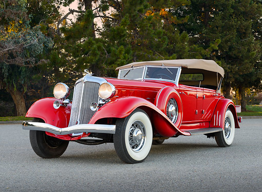 AUT 19 RK1062 01 © Kimball Stock 1933 Chrysler CL Red 3/4 Front View On Pavement By Trees At Dusk