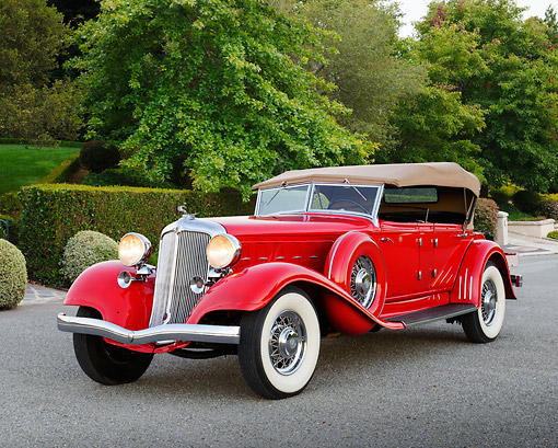 AUT 19 RK1063 01 © Kimball Stock 1933 Chrysler CL Red 3/4 Front View On Pavement By Trees And Shrubs