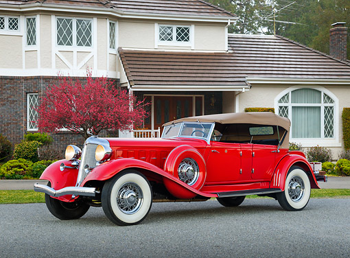 AUT 19 RK1064 01 © Kimball Stock 1933 Chrysler CL Red 3/4 Side View On Pavement By House